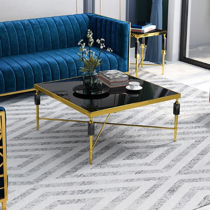 Bàn sofa khung inox 304 mạ titan gold HFC-BSF142-10 (Ảnh 1)